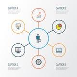 Job Colorful Outline Icons Set Samling av arbetaren Arkivbilder