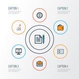 Job Colorful Outline Icons Set Samling av finansiell vinst, pajdiagram, administratör And Other Elements alta Royaltyfri Bild