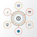 Job Colorful Outline Icons Set Samling av meddelandet, överenskommelse, administratör And Other Elements Inkluderar också Royaltyfri Bild