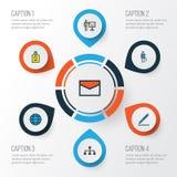 Job Colorful Outline Icons Set Samling av nätverk, värld, blyertspenna och andra beståndsdelar Inkluderar också symboler liksom Royaltyfri Bild