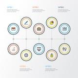 Job Colorful Outline Icons Set Samling av portfölj, överenskommelse, blyertspenna och andra beståndsdelar Inkluderar också symbol Arkivbild