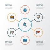 Job Colorful Outline Icons Set Sammlung Anschlagtafel-Darstellung, Arbeitskraft, Berichts-Demonstration und andere Elemente Stockfotos