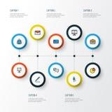 Job Colorful Outline Icons Set Sammlung Bank-Bargeld, Anschlagtafel-Darstellung, Kreis-Statistik und andere Elemente auch Lizenzfreie Stockbilder