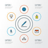 Job Colorful Outline Icons Set Sammlung Bleistift, Arbeitskraft, Netz und andere Elemente Schließt auch Symbole wie ein Lizenzfreies Stockbild