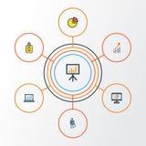 Job Colorful Outline Icons Set Sammlung Computer-Analytik, Kreis-Statistik, Kreisdiagramm und andere Elemente auch Stockbilder