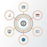 Job Colorful Outline Icons Set Sammlung der Mitteilung, Vereinbarung, Verwalter And Other Elements Schließt auch ein Lizenzfreies Stockbild