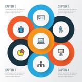 Job Colorful Outline Icons Set Sammlung Identifikations-Ausweis, Kreis-Statistik, Arbeitskraft und andere Elemente Schließt auch  Lizenzfreie Stockfotos