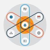 Job Colorful Outline Icons Set Sammlung Team, Verwalter, Mitteilung und andere Elemente Schließt auch Symbole ein Stockfotos
