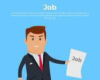 Job Concept Banner Vecror Flat Illustration. Job search concept banner. Job offer. Open vacancy vector illustration in flat style design. Boss in business suit Royalty Free Stock Images