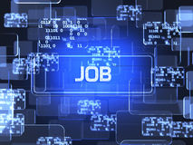 Job concept. Future technology blue touchscreen interface. Job concept Royalty Free Stock Images