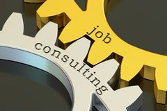 Job consulting concept on the gearwheels, 3D rendering Stock Photography