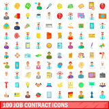 100 job contract icons set, cartoon style Stock Photos