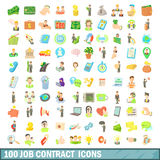 100 job contract icons set, cartoon style Stock Images
