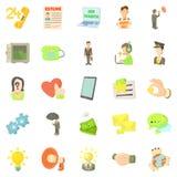 Job contract icons set, cartoon style Stock Photos