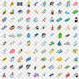 100 job contract icons set, isometric 3d style Royalty Free Stock Image