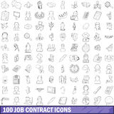 100 job contract icons set, outline style. 100 job contract icons set in outline style for any design vector illustration Stock Photos