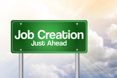 Job Creation Green Road Sign Royalty Free Stock Images