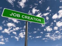 Job creation. Text 'job creation' on a rectangular  green  highway style sign in white uppercase letters, background of blue sky and fluffy clouds Stock Photo