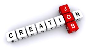 Job creation. Text 'job creation' in uppercase letters inscribed on small cubes and arranged crossword style with common letter 'o', white background Royalty Free Stock Photography