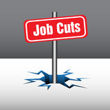 Job cuts. Abstract background with red plate with the text job cuts coming out from an ice crack. Layoffs theme Royalty Free Stock Photography