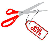 Job cuts. Scissors cutting tag that says - job cuts - vector Stock Images