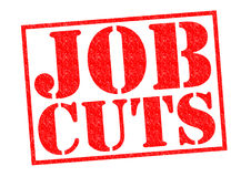JOB CUTS. Red Rubber Stamp over a white background Royalty Free Stock Images