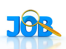 Job 3d letters under the magnifier. Job search icon - job 3d letters under the magnifier Stock Image