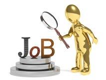 Job. 3d man magnifying job word. finding job Royalty Free Stock Photography