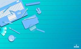 Job, der Ton-Vektorillustration eps10 des kreativen Kunstentwurfsstudiokonzeptes blaue anstellt lizenzfreie abbildung