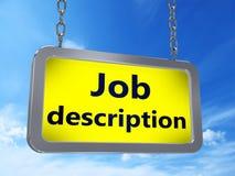 Job description on billboard. Job description on yellow light box billboard on blue sky background royalty free illustration