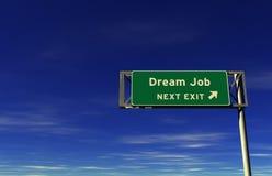 Job di sogno - segno dell'uscita di autostrada senza pedaggio Fotografia Stock