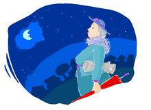 Job done!. Nanny walking in the night after a job well done Royalty Free Stock Photography