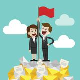 Businessman and businesswoman standing on a huge tower stack of messages or emails and handing red flag. Job is finished. Job done. Flat style vector Stock Photo