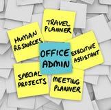 Job Duties Meeting Travel Planner för kontorsadministratör ledare Royaltyfri Fotografi