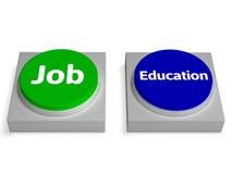 Job Education Buttons Shows Employed o en la universidad Foto de archivo libre de regalías