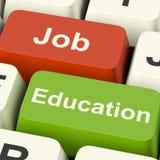 Job And Education Computer Keys que muestra la opción del trabajo o de Stu Foto de archivo