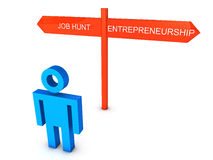 Job or Entrepreneurship. 3D render of a stick figure given choices of Job Hunt and Entrepreneurship Stock Images