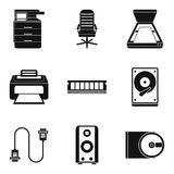 Job environment icons set, simple style. Job environment icons set. Simple set of 9 job environment vector icons for web isolated on white background Stock Photography