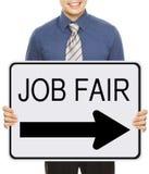 Job Fair. A man advertising a Job Fair signboard or poster Stock Photo