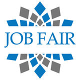 Job Fair Blue Grey Circular. Job Fair text written over blue grey background vector illustration