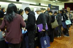 Job Fair i Vancouver Royaltyfri Foto