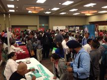 Job fair. A lot companies in Winnipeg have made the job fair for a potential employers who seek for a job. Winnipeg, Canada. 19 August 2015 stock photo