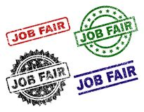 Damaged Textured JOB FAIR Seal Stamps. JOB FAIR seal prints with corroded texture. Black, green,red,blue vector rubber prints of JOB FAIR label with corroded vector illustration