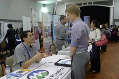 Job Fair in Vancouver. Place: Croatian Cultural Centre, Vancouver,Canada. People of different nationalities are trying to find a job in Vancouver stock photo