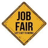 Job fair vintage rusty metal sign. On a white background, vector illustration stock illustration