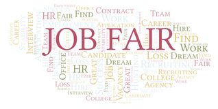 Job Fair word cloud. Wordcloud made with text only vector illustration