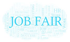 Job Fair word cloud. Wordcloud made with text only stock illustration