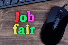 Job fair words on table Stock Images