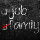 Job and family of your choice written with white chalk on black Stock Photo