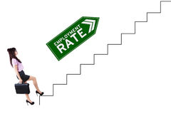 Job finder and employment rate text on stairs Royalty Free Stock Images